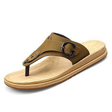 Sandales d'été chaussures d'hommes dehors / tissu / cuir décontracté Tongs Kaki / Jaune Le kaki