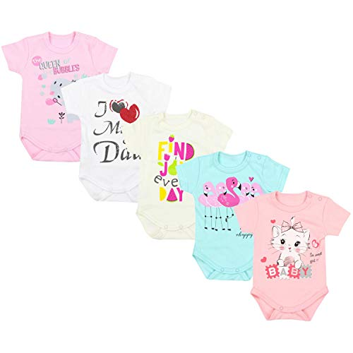 TupTam Unisex Baby Kurzarm Body mit Aufdruck Spruch 5er Pack, Farbe: Mädchen 4, Größe: 86