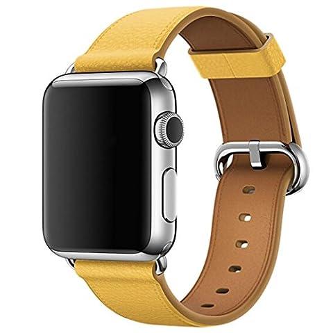 Ouneed® Veritable Cuir Reglable Bracelet de Remplacment pour Apple Watch 38MM (Jaune)