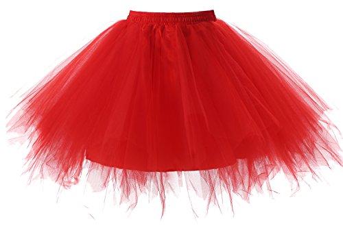 Poplarboy Damen Kurz 50er Vintage Petticoat Reifrock Mehrfarbengroß Unterröcke Braut Crinoline Ballett Blase Tutu Ball Kleid Underskirt Rot, (Tutu Rot)