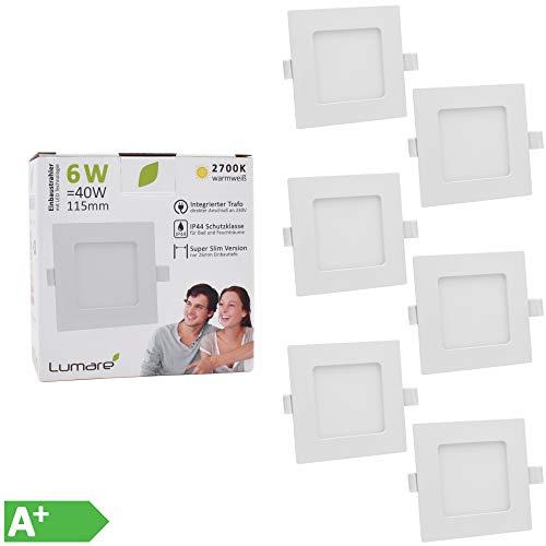 6x Lumare LED Einbauspot 6W IP44 extra flach 230V auch für Bad und Feuchtraum weiß nur 26mm Einbautiefe! Slim Deckenspot quadratisch mit integriertem 450lm LED Leuchtmittel