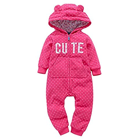 BURFLY Kinderkleidung ♥Mädchen, die niedlichen Baumwollreißverschluss-Dicker-Druck kleiden Kapuzen-Spielanzug-Overall (18 Monate, Heißes (Thickers Letters)