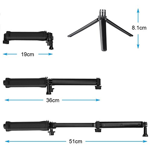 Aursen-Impermeabile-GoPro-3-vie-Monopiede-Cavalletto-Mini-Treppiede-Handheld-Telescopico-di-Estensione-Pole-Stick-Monopiede-Sessione-per-GoPro-Fotocamere-Compatte