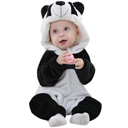 -Panda Kopf mit Kapuze Turnanzug,Kleinkind Neugeborene Baby Jungen Mädchen Panda Cartoon Kapuzenjacke Outfits Kleidung (80) (Geist Halloween Animierte Requisiten)