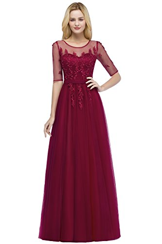 Damen Prinzessin Abiballkleid Tüll Abschlusskleid mit Blumenstickerei Lang Weinrot 46