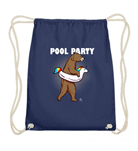 EBENBLATT Bear Unicorn Pool Party Bär Einhorn Einhörner Unicorns Schwimmer Schwimmen swim Geschenk - Baumwoll Gymsac