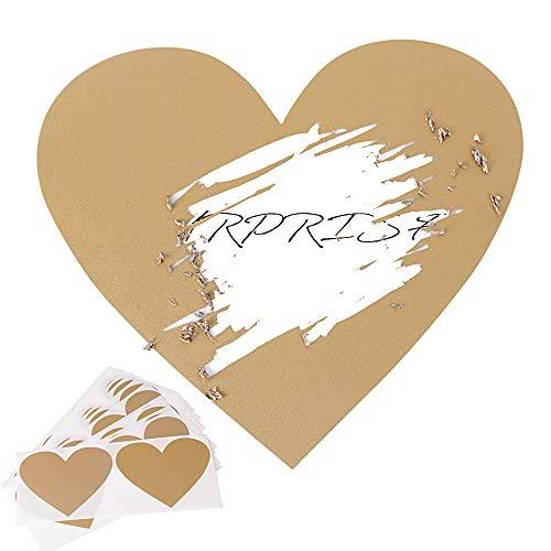 50 Gold Rubbel Etiketten Herz Rubbelkarten Rubbelsticker Hochzeit Überraschung Rubbel Folie Rubbelaufkleber Rubbellos Scratch Off Label Card 7x8cm