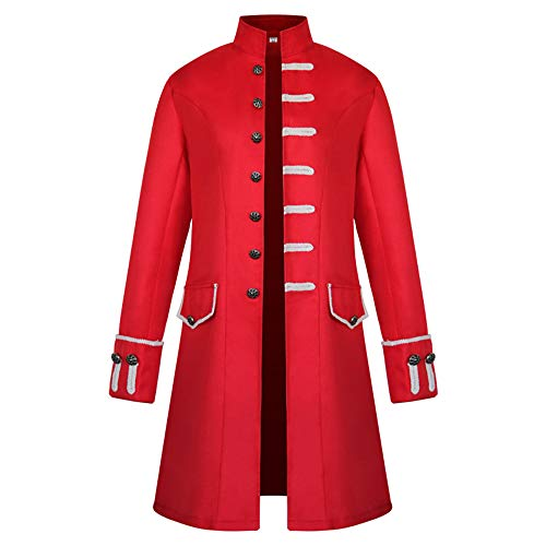 BEIXUNDIANZI Mantel Jacke Männer Langarm Gothic Gehrock Uniform Kostüm Party Oberbekleidung Langer Uniformkleid Vintage Punk Stil Karneval Uniform Cosplay Kostüm Outwear ZZZ-Red 2XL