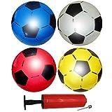 12 Ballons de Football Gonflables en PVC - Pompe Incluse - Couleurs assorti - Ballon plastique pour les Pochettes Surprise et Cadeaux aux Invités - Enfants Anniversaires bonbonniere et Fêtes