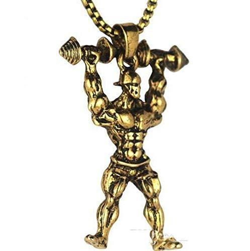weiwei Hantel-Anhänger-Halskette Männer aus rostfreiem Stahl Kette Silber Fitness starker Mann Hippie Halskette Motivation Gym Hip Hop Juwel Ry