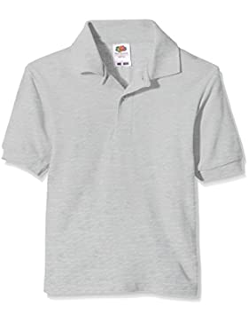 Polo de manga corta 65/35 unisex para niños de 14–15años, color gris, talla 36, de la marca Fruit of the Loom