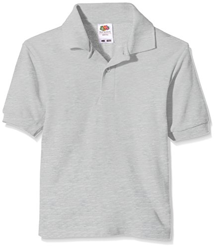 Fruit of the Loom Jungen T-Shirt Pique Polo Grey (Heather Grey)