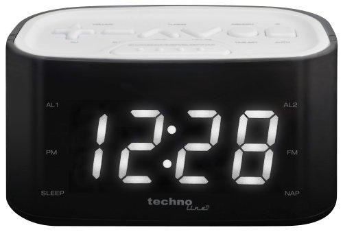 Technoline WT 465 LED Radiowecker mit Tasten im Play-Controller Design, weiß (Radiowecker Mit Alarm)