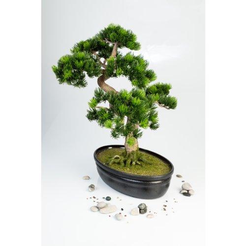 artplants Künstliche Japanische Bonsai Pinie in Bonsaischale, 320 Spitzen, 40 cm – hochwertiger Kunstbonsai künstlicher Bonsai
