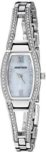 Armitron Women's 75/3531MPSV Swarovski Crystal Accented Silver-Tone Bangle Watch