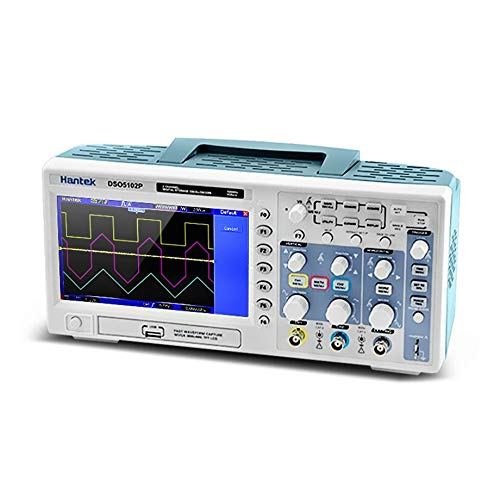 "PETUNIA DSO5102P Digitales Speicheroszilloskop 100 MHz 1 Gsa/S 2-CH 7""TFT USB WD - Blau (EU-Stecker)"