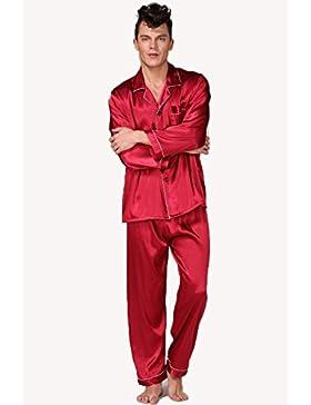 Pijama De Seda Clásico De Los Hombres Negro Sudadera Estilo Conjunto De Color Sólido De La Manga Larga De Otoño...