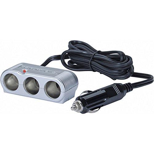 Preisvergleich Produktbild HR GRIP 3-fach KFZ-Ladegerät mit hoher Ausgangsleistung & Status-LED in silber [8 Ampere | 12V & 24V geeignet | Designed in Germany] - 11010211
