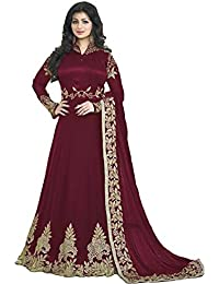 BHUMIK ENTERPRISE Designer Beautiful Mahroon Embroidered Work Long Anarkali Suit Semi-Stitched Suit ( Bottom Unstitched)