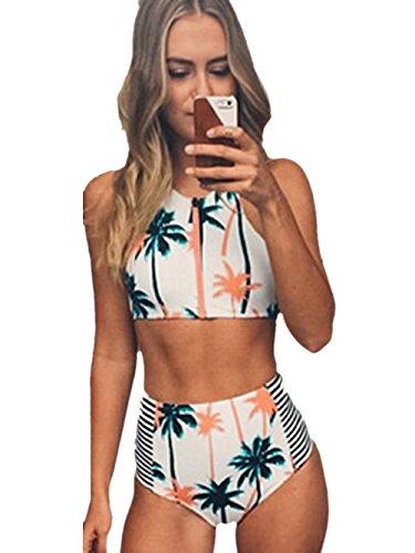Blooming-Jelly-Mujeres-Coconut-Tree-Imprimir-Bikini-De-Alta-Cintura-Set-Baador