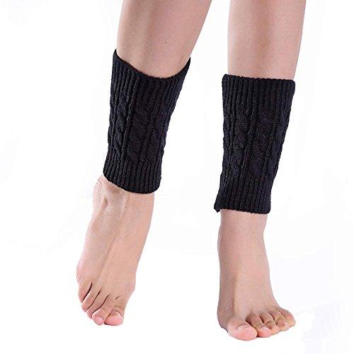 UJUNAOR Frauen Mädchen Wollsocken Winter Leggings Kurz Socken Stricken Dicke Häkeln Faule Stiefel Beindecke Socke Kniebunds(Schwarz,One size)