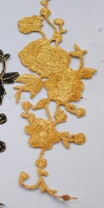 AiCheaX Lace Crafts - 10 Teile/los Blume Applizierte Farbige Eisen Auf Gestickte Patches Dip Dye Fluro Cosplay Kostüm Borte 923,5 cm - (Farbe: Gold) -