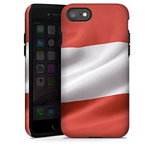 Apple iPhone X Silikon Hülle Case Schutzhülle Österreich Flagge Austria Tough Case glänzend