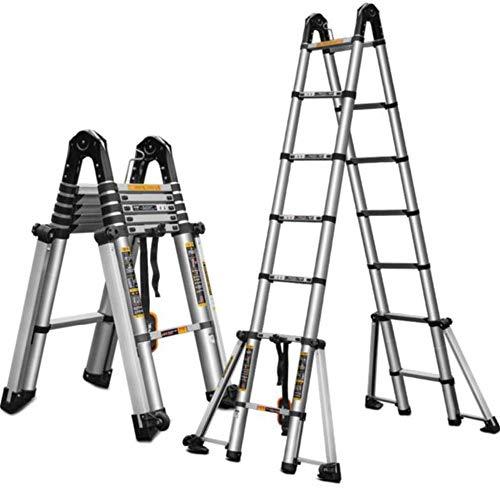 Verlängerung Leiter Tragbare Aluminium Schiebeleiter Verlängerungsschritt Kompakte Bodentreppen Folding Schiebeleiter (Farbe : A, Größe : 3.3M)