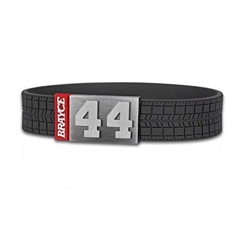BRAYCE Bracciale sport motoristici numero 00-99 (numero di partenza, numero fortunato) in stile pneumatico (battistrada): il gioiello per per Moto-GP, Formu