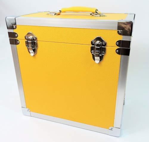 Steepletone - Caja de DJ para LPs y discos de vinilo, 30 x 30 x 20 cm, color amarillo