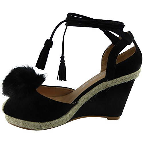 Nuovo Da donna Allacciare Pelliccia Pom Pom Espadrilles Cunei Scarpe sandali Dimensione 36-41 Nero