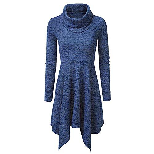 Elecenty Damen Stehkragen Minikleid Frauen England Irregulär Strickkleid -