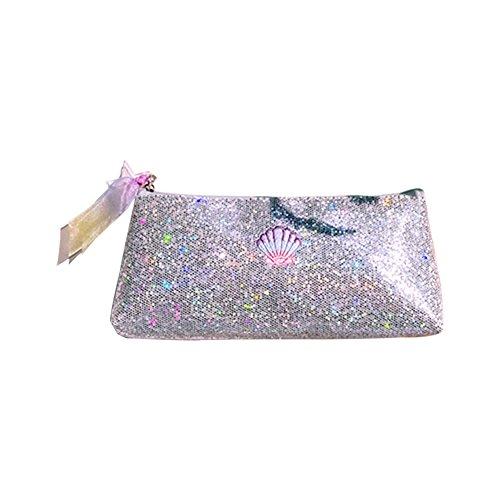 Kentop élégant Paillettes Trousse Maquillage Cosmétique Sac pochette de rangement Sac à main pour femmes filles Silver