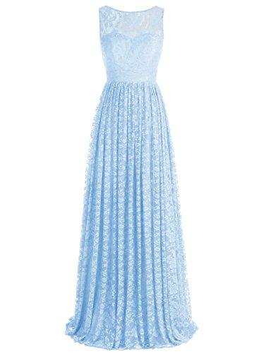 Bbonlinedress Robe de cérémonie et de demoiselle d'honneur florale dentelle broderie sans manches col rond longueur ras du sol en tulle Bleu