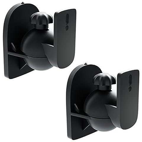 [SET 2 Stück] deleyCON Universal Lautsprecher Wandhalterung Halterung Boxen Halter Schwenkbar + Neigbar bis 3,5Kg Deckenmontage + Wandmontage -