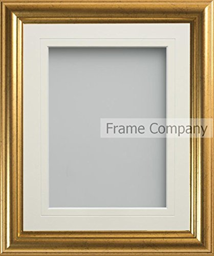 Frame Company Goldener Bilderrahmen, Eldridge Range, 25 cm x 20 cm, mit elfenbeinfarbenem Passepartout für Bildgröße 20 cmx 15cm - 10x8 Bilderrahmen,