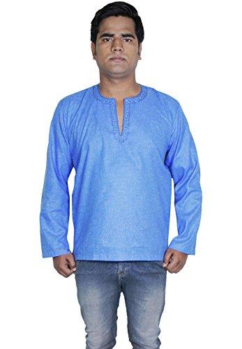 Mens cotone kurta manica lunga di yoga di polo ricamato camicia di XL