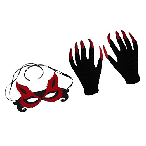 Fuchs Maske mit Teufel Handschuhe Set für Halloween Karneval Fasching Party Kostüm (Gothic Teufel Kostüme Für Frauen)