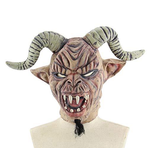 PanDaDa Halloween Maske für Erwachsene, Teufel Dämon Monster Maske mit Schafshorn Sturmhaube Gesichtsmaske Kostüm Party Gruselig Gruselig Dekoration - Teufel Kostüm Ohne Hörner