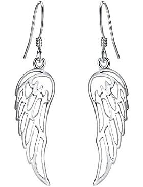 EVER FAITH® Damen 925 Sterling Silber einfach Engel Flügel Daily Dangle Hook Ohrringe