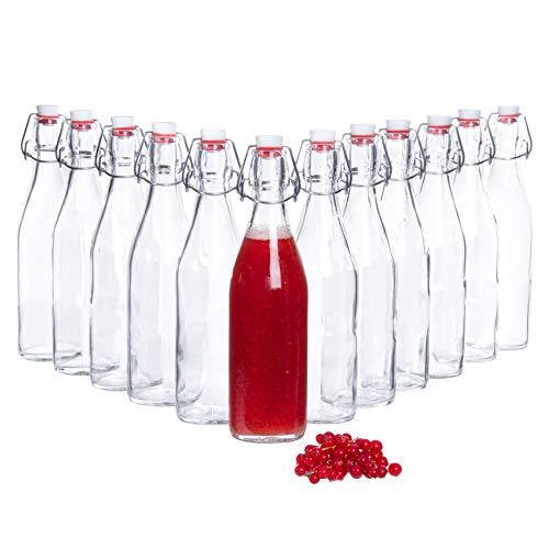 Bormioli Glasflaschen mit Bügelverschluss 'Giara' 12 teilig | Füllmenge 500 ml | Gesamthöhe 26,5 cm | Perfekt um Öle anzusetzten, Schnäppse zu veredeln oder zum servieren von Wasser, Säften und Weinen