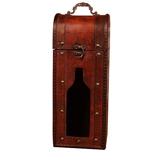 Weinkiste für 1 Flasche, Holz, für Jahrestag, Zeremonie für Paare, Hochzeit, Weinkoffer, mit Griff, Holz und Fenster, Antik-Finish -