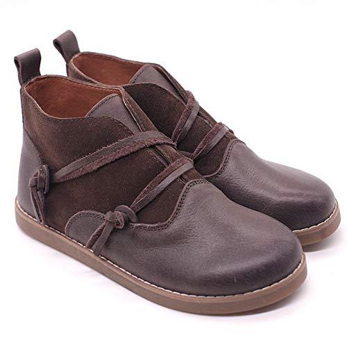 Gaslinyuan Brown Boots Damen Tassel Leder Vintage Slip auf Knöchel Martin Schuhe (Farbe : Braun, Größe : EU 37) - Womens Leder Slip