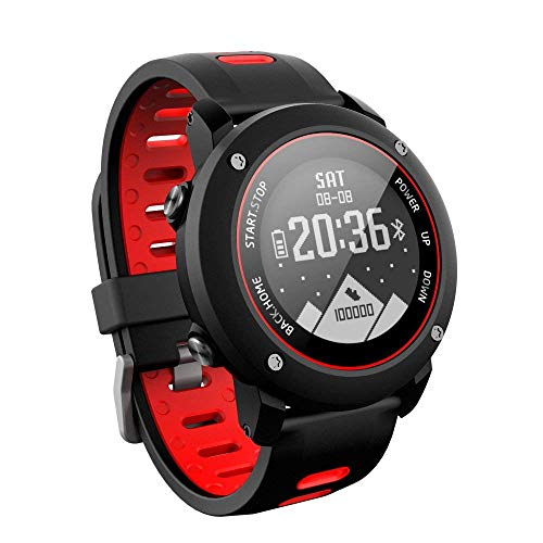 QKa Smart Watch, GPS Sports Watch Running per Outdoor Sports Tapis roulant Walking Marathon, ip68 100 M Deep Waterproof Compatibile con iOS e Android,Red