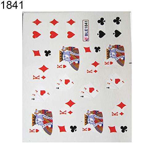 tailor13me Mode Poker Cartoon Tier Nagel Aufkleber Full Cover Wrap Maniküre Dekor Aufkleber 41#