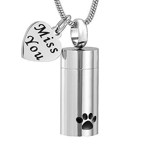 LUVFAOAIWO Schmuck Feuerbestattung Schmuck für Asche Anhänger Pet Paw Print Zylinder Andenken Halskette für Hund Katze Memorial Schmuck für Asche