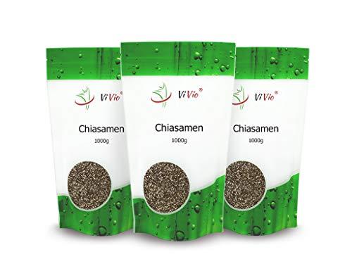 Chia Samen - 3 x 1000 g - Chiasamen 3 x 1kg - Vegan - Omega 3 - Nährstoffreich & glutenfrei - Premium Qualität - Salvia hispanica - Rohkost - Proteine - Ballaststoffe - ViVio
