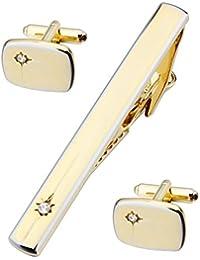 Hawson moda cristal Gemelos y juego de corbata Mejor Regalo Para Hombre Color Dorado