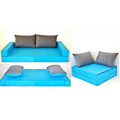 KK B1 blau-grau Kindersofa Kindermatratze Sitzkissen Spielsofa Minicouch Set + 2 Kissen (KK B1 (blau-grau)) (Leseecke Für Kinder)