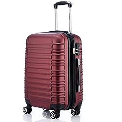BEIBYE Zwillingsrollen Reisekoffer Koffer Trolleys Hartschale in XL-L-M in 14 Farben (Weinrot, XL)